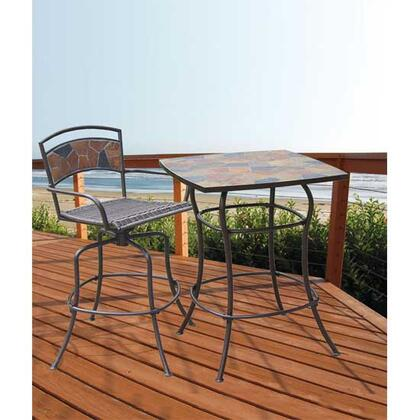 DM-1340-ABS Rock Canyon Bar Table + Bar Stool with Wrought Iron Powder Coated Frame and Natural Slate Mosaic