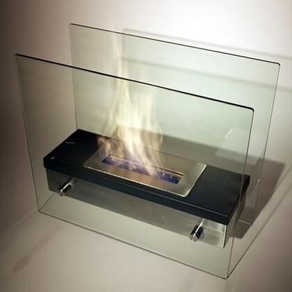 Ardore NF-F2ARE 18.5 inch  Vent Free Tabletop Bioethanol Fireplace with Adjustable Dampener  1 Liter Capacity Burner and Tempered Glass Wind Screens in Stainless