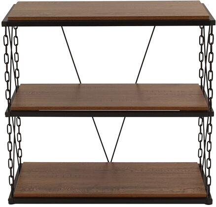 Vernon Hills Collection NAN-JN21720PS-GG 31 inch  Bookcase with Shelves  Chain Accent Frame  Black Powder Coated Frame and Laminate Materials in Antique Wood