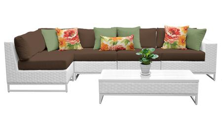 MIAMI-06d-COCOA Miami 6 Piece Outdoor Wicker Patio Furniture Set 06d with 2 Covers: Sail White and