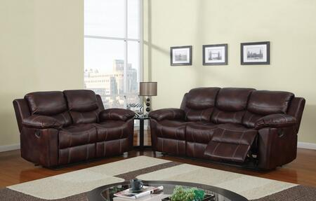 U2128-SL 2 Piece Reclining Livingroom Set in Brown  Sofa +