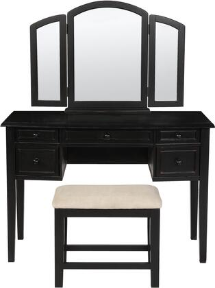 "502-290 54"""" Vanity  Tri-fold Mirror and Bench in Antique Black Finish with Sand Through Terra"" 233036"