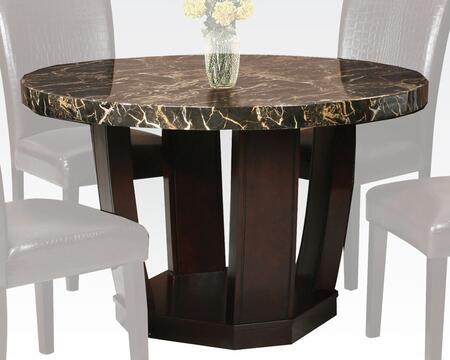 Adolph Collection 70780 48 inch  Dining Table with Faux Marble Top  Pedestal Base  Round Shape and Medium-Density Fiberboard