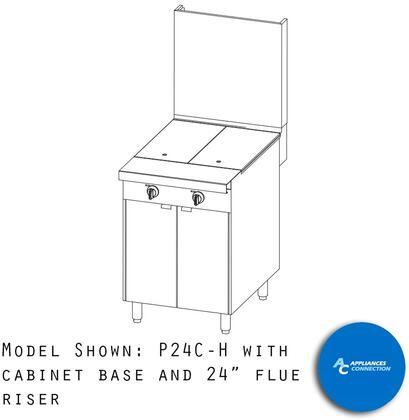 "P24NHH Platinum Series 24"" Uniform Hot Top with Four Standard Burners and Electronic Pilot Ignition  Up to 64000 BTUs (NG)/56000 BTUs (LP)  Modular"