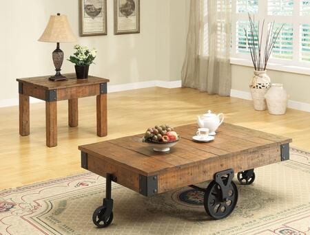 701458CE 2 PC Living Room Table Set with Coffee Table + End Table in Rustic Brown