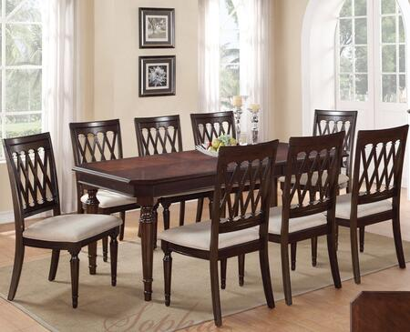 Sophia SOPTAB6CHR Dining Set Including Dining Table and 6 Chairs with Carved Detailing and Turned