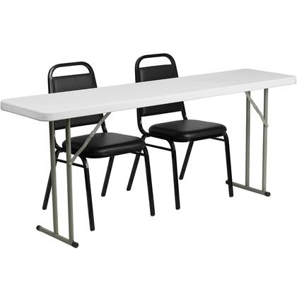 RB-1872-2-GG 18'' x 72'' Plastic Folding Training Table with 2 Trapezoidal Back Stack