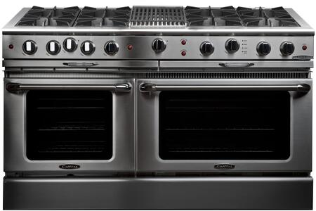 """Capital Culinarian Series CGSR604B4 60 Inch Pro-Style Gas Range with 8 Open Burners, Moto-Rotisâ""""¢ Rotisserie, 12"""""""" Hybrid Radiant Grill, EZ-Glidesâ""""¢ Drip Tray, Stay-Coolâ""""¢ Knobs, Flex-Rollâ""""¢ Oven Racks, 4.6 cu. ft. Primary Oven and 3.1 cu. ft. Second"""