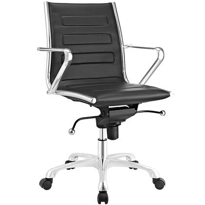 Ascend Collection EEI-2214-BLK Office Chair with Swivel Seat  Adjustable Height  Tension Control Knob  Chrome Plated Steel Frame  Polished Aluminum Base and