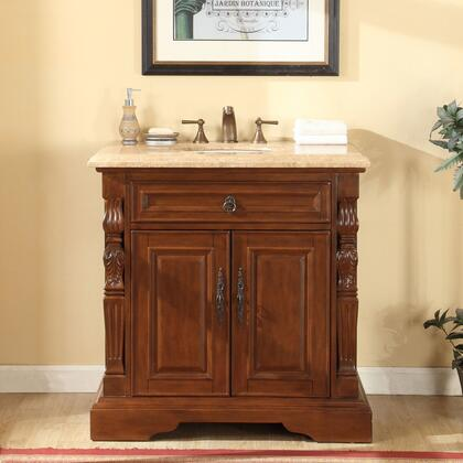 V0278TW36C 36 inch  Single Sink Cabinet with 2 Doors  1 Interior Drawer  Travertine Top and Undermount White Ceramic Sink
