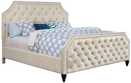 Claudine Collection CM7675Q-BED Queen Size Panel Bed with Crystal-Like Acrylic Buttons  Cut-Out Design  Nail Head Accents  Solid Wood Construction and Fabric