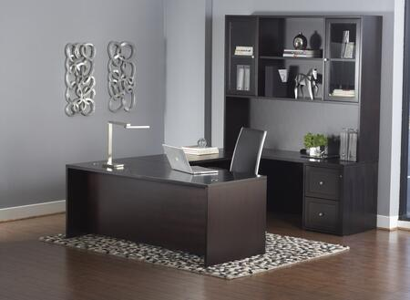 1C200007EDES Espresso U-Shaped Executive Desk & Hutch w/ Mobile
