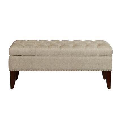 DSD107003485 Hinged Top Button Tufted Storage Bed Bench In Lunar Linen