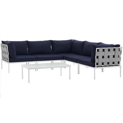Harmony Collection EEI-2627-WHI-NAV-SET 6-Piece Outdoor Patio Aluminum Sectional Sofa Set with Coffee Table  3 Corner Sofas and 2 Armless Chairs in White and