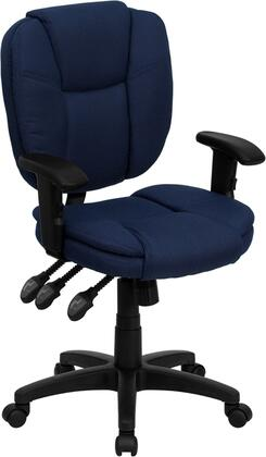 GO-930F-NVY-ARMS-GG Mid-Back Navy Blue Fabric Multi-Functional Ergonomic Task Chair with