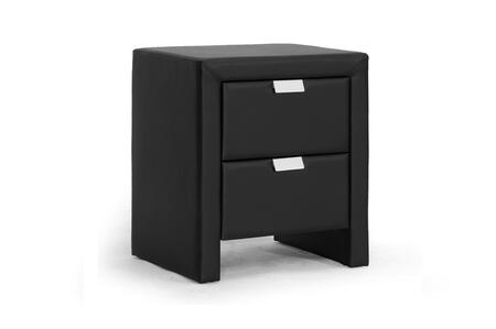 BBT3089-BLACK-NS Baxton Studio Frey Upholstered Modern Nightstand  In