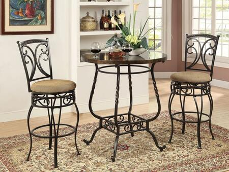 Tavio 96345T2C 3 PC Bar Table Set with Bar Table + 2 Swivel Chairs in Antique Black