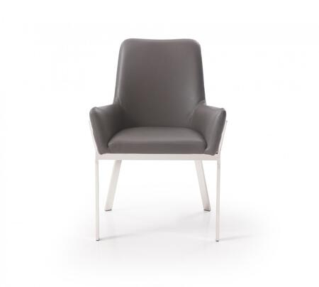 Modrest Robin Collection VGVCB8366-GRY Dining Chair with Flared Armrest  Brushed Stainless Steel Frame and Bonded Leather Upholstery in Grey