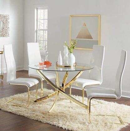 Chanel Collection 108441-S5 5-Piece Dining Room Set with Round Dining Table and 4 Side Chairs in White and