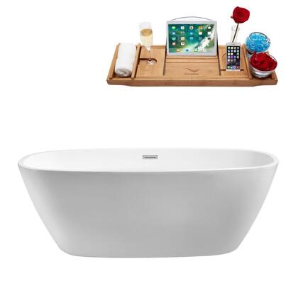 N70059FSWHFM 59 inch  Soaking Freestanding Tub with Internal Drain  Chrome Color Drain Assembly  168 Gallons Water Capacity  and Acrylic/Fiberglass Construction  in