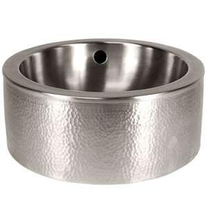 CF160SN Solid Hand Hammered Copper 15 inch  Diameter Round Vessel Sink With Apron in Satin Nickel