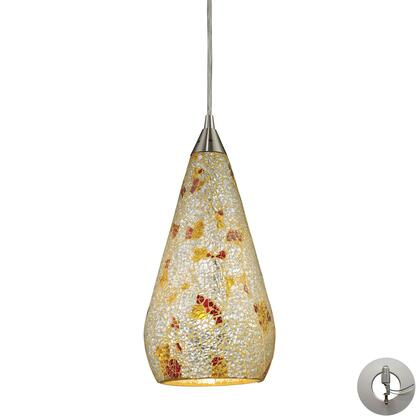 546-1slvm-crc-la 1 Light Pendant In Satin Nickel With Silver Multicolored Crackle With Adapter