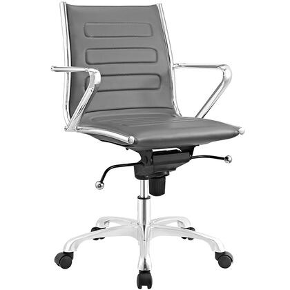 Ascend Collection EEI-2214-GRY Office Chair with Swivel Seat  Adjustable Height  Tension Control Knob  Chrome Plated Steel Frame  Polished Aluminum Base and
