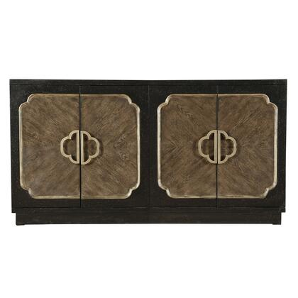 D153128 Traditional Distressed Chocolate Finish Four Door Credenza In
