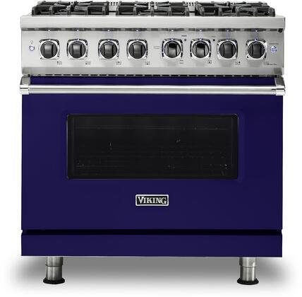 "VDR5366BCB 36"" 5 Series Dual Fuel Self-Clean Sealed Burner Range with 6 Brass Sealed Burners  93500 BTU  5.6 cu. ft. Self Clean Convection Oven  Automatic"