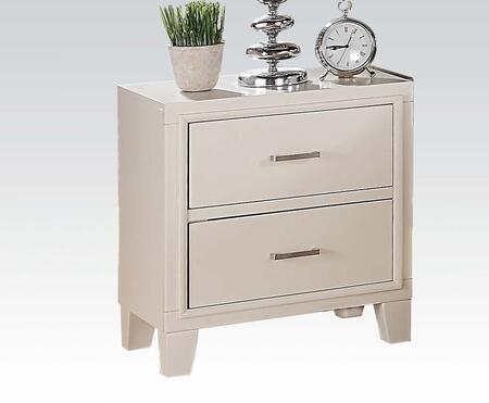 Tyler Collection 22543 22 inch  Nightstand with 2 Drawers  Brushed Nickel Hardware Handles  Solid Rubberwood and Gum Veneer Materials in White