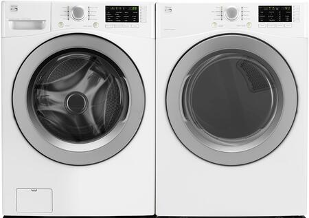 White Front Load Laundry Pair with 26-41262 27 Washer and 26-91182 27 Gas