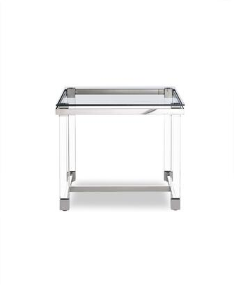 ST1456 Brianna Side Table  10 mmTempered Clear Glass Top  Polished Stainless Steel Frame  Acrylic