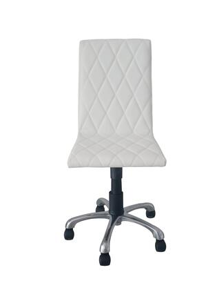 OC1465PWHT Julian Armless Office Chair  White Faux Leather  High Density Foam  Adjustable Height  Aluminum Base With