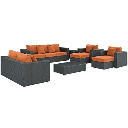 Sojourn Collection EEI-1881-CHC-TUS-SET 9-Piece Outdoor Patio Sunbrella Sectional Set with Loveseat  Sofa  Rectangle Ottoman  2 Armchairs  2 Ottomans and 2