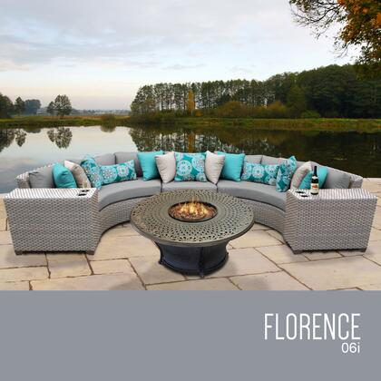 FLORENCE-06i-GREY Florence 6 Piece Outdoor Wicker Patio Furniture Set 06i with 2 Covers: Grey and