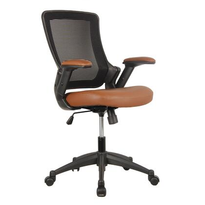 RTA-8030-BRN Techni Mobili Mid-Back Mesh Task Office Chair with Height Adjustable Arms. Color: