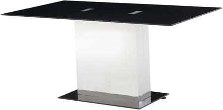 Global Furniture USA D1530DT Dining Table Glass Base and Black Glass Top Stainless Steel