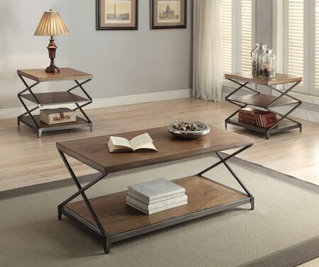 Fabio 80445CE 3 PC Living Room Table Set with Coffee Table + 2 End Tables in Oak