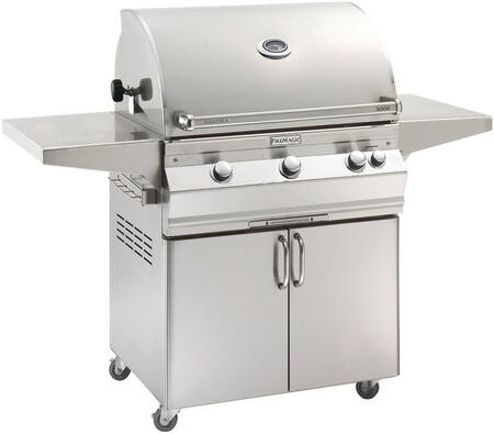 A660S6EAN61 Aurora 63 inch  Cart with 30 inch  Natural Gas Grill  E-Burners  Side Shelves  Backburner  Analog Thermometer  and Up to 75000 BTUs Heat Output  in Stainless