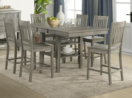 Huron Collection HURDGGT6SBS 7-Piece Dining Room Set with Gather Height Leg Table and 6x Slatback Barstools in Distressed Grey