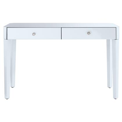 DSD114009 Reverse Painted White Glass Desk
