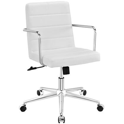 Cavalier Collection EEI-2125-WHI Office Chair with Swivel Seat  Adjustable Height  Dual-Wheel Nylon Casters  Brushed Stainless Steel Armrests  Polished Chrome