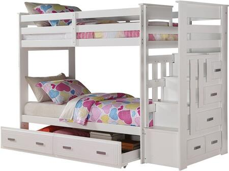 Allentown Collection 37370 Twin Over Twin Size Bunk Bed with Storage Ladder  Trundle Included  Staircase Drawers  Center Wood Glide Drawer and Full Length