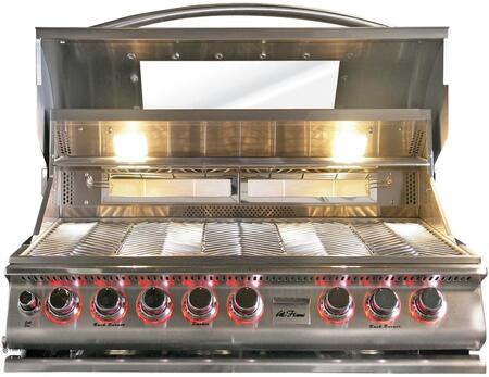 BBQ18875CTG Built In Liquid Propane Grill with 5 Burners  Glass Hood  LED Knob  Two Back Burners  Convection Oven  and Conversion Kit  in Stainless 907312