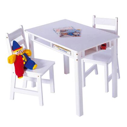 534W Lipper's Rectangular Table with Shelves and 2 Chairs in White