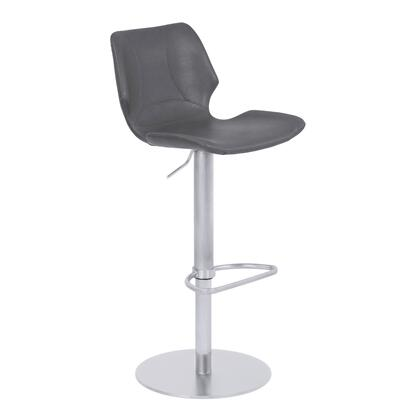 Zuma Collection LCZUBAVGBS Adjustable Metal Barstool in Vintage Gray Faux Leather with Brushed Stainless Steel