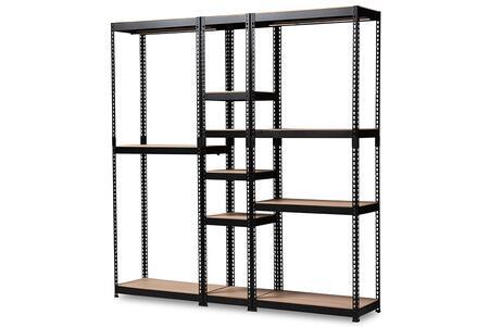 BH06/BH09/BH12-Black-Shelf Baxton Studio Gavin Modern and Contemporary Black Metal 10-Shelf Closet Storage Racking