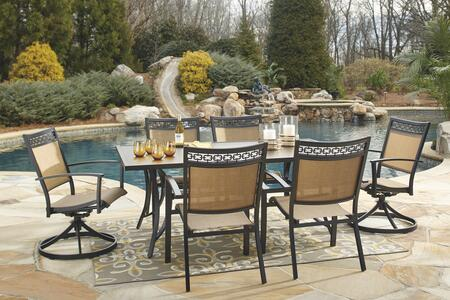 Carmadelia Collection P376rect4c2sc 7-piece Outdoor Patio Set With Rectangular Dining Table  4 Side Chairs And 2 Swivel Chairs In Tan And