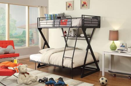 Zazie Collection 37142 Twin Over Full Bunk Bed with Reversible Ladder  Easy Access Guardrail  Bookshelf  Slat System Included and Steel Tube Construction in