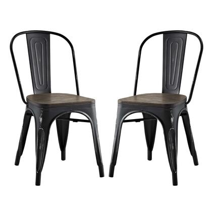 Promenade Collection EEI-2751-BLK-SET Dining Side Chair with Non-Marking Feet Caps  Modern Style  Laminated Bamboo Seat and Powder Coated Steel Frame in Black